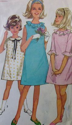 "Vintage 1965 Simplicity 5902 Girl's One Piece A-Line Dress Sewing Pattern Size 10 Breast 28"" **Epsteam"