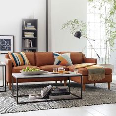Inspired by furniture silhouettes, the Hamilton Leather Chaise Sectional feels as luxurious as it looks. 1950s Furniture, Furniture Layout, Living Room Furniture, Living Room Decor, Living Room Designs, Living Spaces, Small Living, Family Room, Interior Design