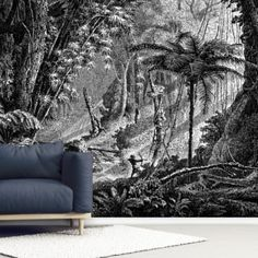 Install this custom-made Antique Illustration of Brazil Jungle wallpaper in the comfort of your own home. FREE UK delivery within 2 to 4 working days. Birch Tree Wallpaper, Forest Wallpaper, Photo Wallpaper, Wall Wallpaper, Wall Painting Living Room, Victorian Illustration, Wallpaper Companies, Black And White Wallpaper, Inspirational Wallpapers