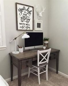 Luxury Home Office Design Ideas.Whether you are intending on adding a home office or renovating an old room into one, below are some brilliant home office design ideas to help you start. Small Space Office, Home Office Space, Home Office Desks, Home Office Furniture, Small Office Decor, Men Office, Desk Space, Design Living Room, Small Room Design