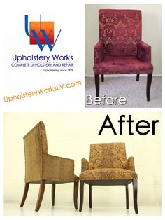 Before after upholstered chair by Upholstery Works. Las Vegas, NV http://www.UpholsteryWorksLV.com