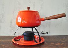 Vintage Orange Fondue Pot Complete Set with by HedgehogAndOwl