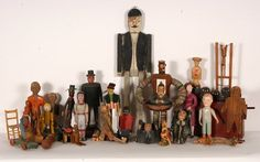 1353: Box Lot of Carved Figures Toys