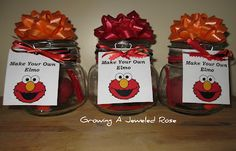 Brilliant Elmo party favor idea from Growing A Jeweled Rose!