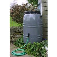 Grey 60-Gallon Rain Barrel with Lid in HDPE Food Grade Plastic Resin @ bestrainwatercollectionsystems.com