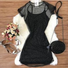 Sim ou não? Tumblr Outfits, Chic Outfits, Fashion Outfits, Womens Fashion, Girl Outfits, Other Outfits, Dressy Dresses, Looks Com Kimono, Black White Fashion