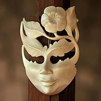 Wood mask, 'Frangipani Summer'