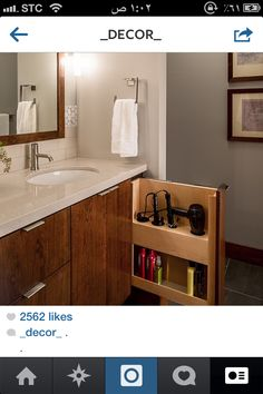 17 Mind-Blowing Bathroom Cabinet Ideas (Professional's Choices) 10 Get All Ideas About Home Who says cabinet is never fitted for bathroom? There are plenty of bathroom cabinet ideas that will be suitable for any kind of bathroom including the tiny Bathroom Furniture, Bathroom Interior Design, Vanity, Bathroom Vanity, Bathroom Storage, Modern Bathroom, Amazing Bathrooms, Bathrooms Remodel, Bathroom Decor