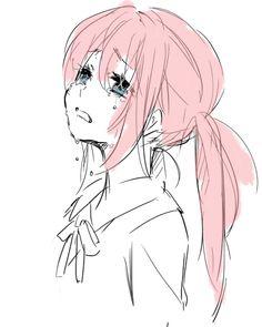 anime #crying girl #anime girl #pink hair
