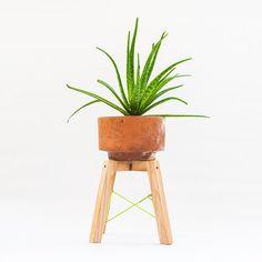 Small modern wood plant stand Minimal handmade planter stand