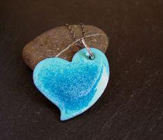 Heart Pendant enamel pendant enamel on copper by CinnamonJewellery, £18.00