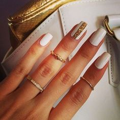 Chic white and gold nails