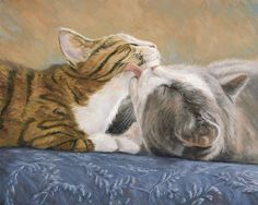 Cat Print featuring the painting Best Friends by Lucie Bilodeau