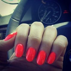 gorgeous oval nails with perfect summer nail polish, oval nails work well with all colours and designs Oval Nails, Red Nails, Hair And Nails, Orange Acrylic Nails, Acrylic Nail Shapes, Shellac Nail Colors, Summer Nail Polish, Nail Games, Super Nails