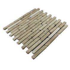 Pebble Tile Natural Stone Sticks Random Sized Mosaic Tile in Tan