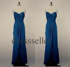 Custom Dark Blue Beaded Long Prom Dresses Cap Sleeves by Tinadress, $102.00