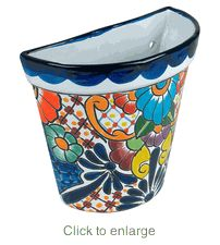 I love this style by the front door for friends to drop items by or leave notes and things. - Use for hanging storage or decoration on walls - Tapered Talavera Wall Pot