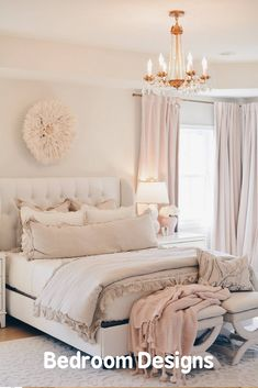 Master bedroom decor: how to create a cozy and romantic master bedroom with luxury linen bedding, crystal chandelier, and gorgeous curtains. Vintage Bedroom Decor, Bedroom Decor For Teen Girls, Girl Bedroom Designs, Bedroom Images, Home Decor Bedroom, Bedroom Ideas, Bedroom Boys, Large Bedroom, Romantic Master Bedroom