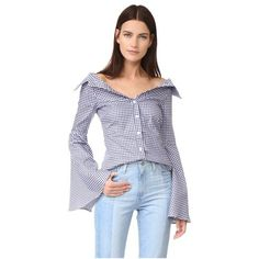 Designer Clothes, Shoes & Bags for Women Off Shoulder Tops, Navy Tops, Long Sleeve Tops, Persephone, Stylish, Womens Fashion, Navy Blue, Gingham, Fashion Design