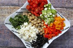 Mediterranean Chickpea Salad -- Satisfying, colorful and delicious!! This easy-to-make salad is tossed with a homemade vinaigrette!