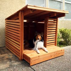 Redwood dog house $600 was created by Etsy shop designer and dog lover Sara Strong of StrongWoodStudio. This summer doghouse's walls are made of 1x2 redwood slats.