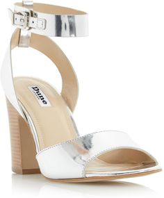 It features a mid block heel, ankle strap buckle fastening and an open toe. Work the tomboy look by styling it with dungarees and a striped jersey top. Tomboy Look, Ankle Strap Sandals, Dune, Block Heels, Open Toe, Heeled Mules, Footwear, Stylish, Lady
