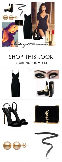 """""""Midnight summer"""" by m-illumino-di-glamour ❤ liked on Polyvore featuring Christopher Esber, Giuseppe Zanotti, Yves Saint Laurent, Marc Jacobs, celebrity, nightoutfit and demirose"""