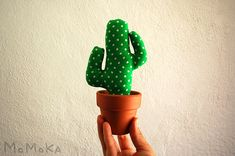 Green Dots Flamenco Potted Cactus Textile. Patchwork by momokashop