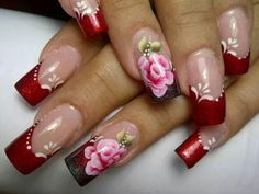 Red metallic nails with rose accent nail Uñas One Stroke, One Stroke Nails, Pretty Nail Colors, Pretty Nails, How To Do Nails, Fun Nails, Belle Nails, Finger, Fabulous Nails