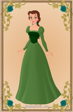 Belle { Green Dress } by kawaiibrit.deviantart.com