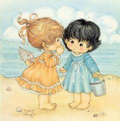 ❤️S i s t e r s ~ Artist Ruth Morehead Sarah Kay, Cute Girl Drawing, Cute Drawings, Cute Kids Pics, Cute Pictures, Greeting Card Companies, Beach Illustration, Holly Hobbie, Angel Art