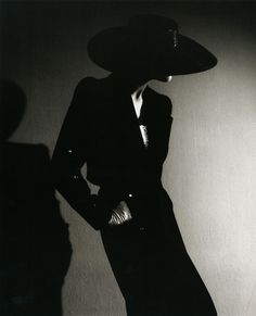 Noir glamorous woman in hat and shadows by Horst P. Horst, the king of fashion photography