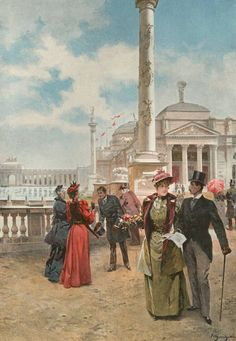 PRINT - CHICAGO - COLUMBIAN EXPOSITION WORLD'S FAIR - IN THE GRAND PLAZA - PAINTING BY L. MARCHETTI - 1893