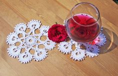 Crochet Snowflakes Coasters of 2 Drink Coasters  2 by evefashion, £6.50