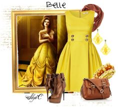 "Not sure how I feel about those heels...but I love everything else. ""Belle Inspired Outfit"" by rubytyra on Polyvore"