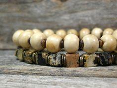 Mens Bracelet - Beaded Bracelet - Bone Bracelet - Gemstone Bracelet - Mans Jewelry - Guys Jewellery - Tribal Bracelet. $44.00, via Etsy.