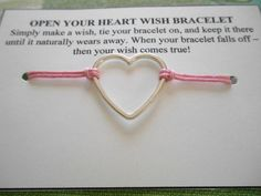 Open Your Heart  Wish Bracelet  Choose your by SolitarySandpiper