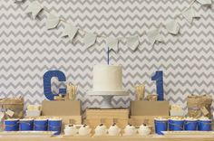 Simple royal blue, grey and kraft 1st Birthday Dessert Table