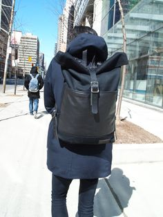 Black Japanese Canvas Rolltop Rucksack with Italian di Hedj Backpack Bags, Leather Backpack, Leather Bag, Unique Backpacks, Clutch, Custom Bags, Italian Leather, Bag Accessories, Mens Fashion