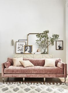 Parisian Inspired Living Room with Blush Velvet Sofa Styled by Kim Ficaro #retrohomedecor