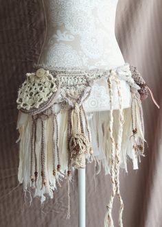Crochet pixie pocket belt / festival utility belt, tattered faerie skirt - Morale Fiber on Etsy