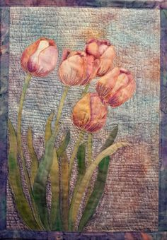 fabric beaded hand painted flower garden wall hanging - Google Search