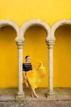 Anthropologie Yellow Pleated Skirt