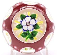Lg BEAUTIFUL John DEACONS Primrose FLOWER Double Overlay Art Glass PAPERWEIGHT | Pottery & Glass, Glass, Art Glass | eBay!
