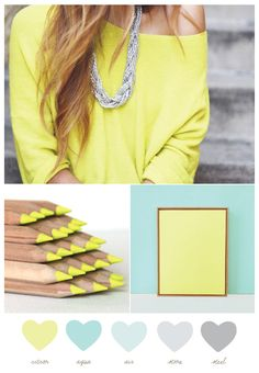 """party palette: aqua + citron  """"When paired with soft shades of gray, the neon of the citron takes on a super sophisticated look without losing any of the inherent playfulness. So pretty and so fun."""""""