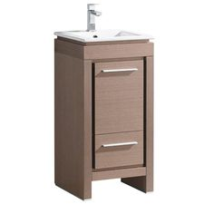 Fresca Allier 16 in. Bath Vanity in Gray Oak with Ceramic Vanity Top in White with White Basin - The Home Depot Modern Bathroom Cabinets, Oak Bathroom, Bathroom Vanity Base, Wood Vanity, Vanity Cabinet, Single Bathroom Vanity, Diy Bathroom Decor, Vanity Sink, Bath Vanities