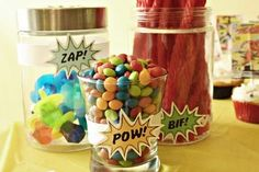 Super hero party food- nice and easy, lots of bright colours with little sound effect signs