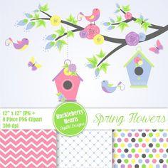 80% venta flor Clipart papel Digital de la por HuckleberryHearts