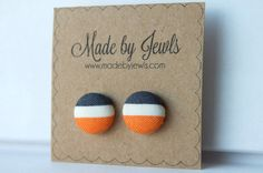 Fabric Button Earrings - Fall Stripe - Buy 3, get 1 FREE by jewlswashere on Etsy