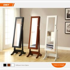 antique Rectangular Cheval Mirror with wooden frame